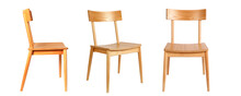 Set Of Three Identical Wooden Chairs In Different View Angles