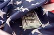 Leinwandbild Motiv national flag of USA and dollar bills