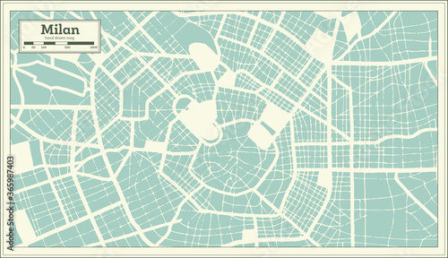 Cuadros en Lienzo Milan Italy City Map in Retro Style. Outline Map.
