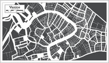Venice Italy City Map In Black...