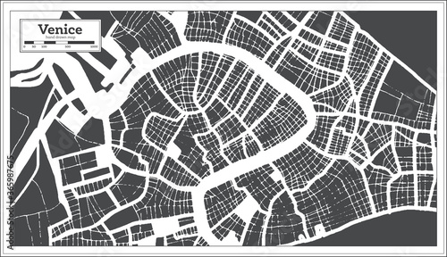 Obraz na plátně Venice Italy City Map in Black and White Color in Retro Style