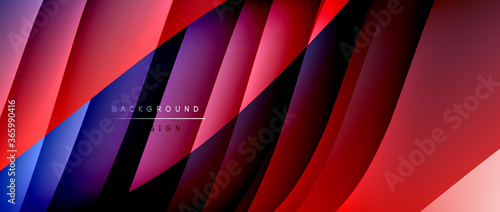 Fotografía Fluid gradient waves with shadow lines and glowing light effect, modern flowing