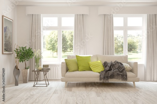 Fototapeta White living room with sofa and summer landscape in window. Scandinavian interior design. 3D illustration obraz