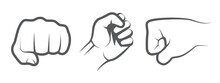 Hand Punch Icons On White Background