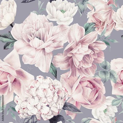 Seamless floral pattern with flowers on summer background, watercolor illustration Fototapete