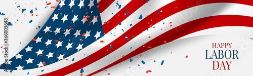 Fototapeta Labor Day banner or header. USA national federal holiday design. American flag background. Realistic vector illustration. obraz