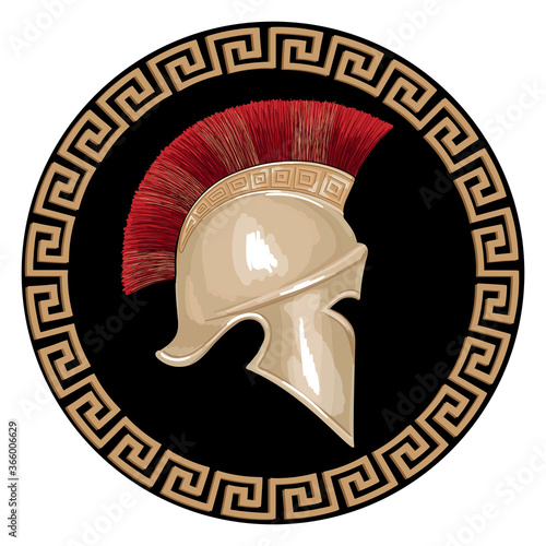 Fotografie, Tablou Helmet of the ancient Greek warrior hoplite with a national meander ornament isolated on white background