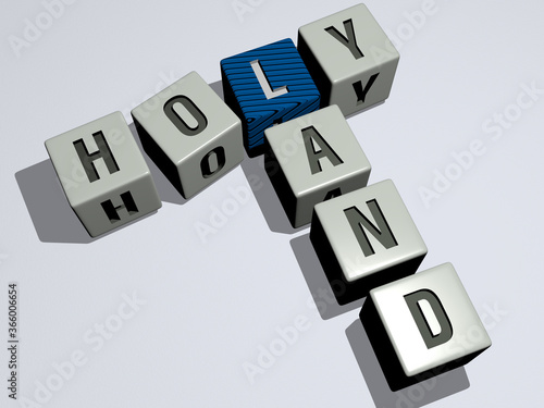 Photo crosswords of HOLY LAND arranged by cubic letters on a mirror floor, concept meaning and presentation