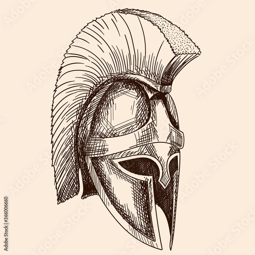 Helmet of the ancient Greek warrior hoplite with a national meander ornament Canvas