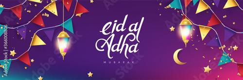 Fototapeta Eid Al Adha Mubarak the celebration of Muslim community festival calligraphy background design. obraz
