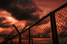 Security Fence Of Military Zon...