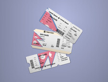 Modern Design Of Nepal Airline, Bus And Train Travel Boarding Pass. Three Tickets Of Nepal Painted In Flag Color. Vector Illustration Isolated Gradient Background
