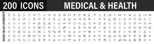 Foto Set of 200 Medical and Health web icons in line style