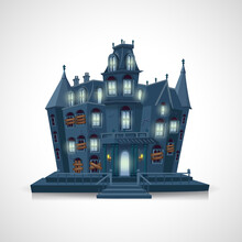 Scary Haunted House Isolated O...