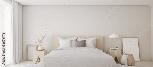 White bedroom interior.Earth tones design3d rendering Slika na platnu