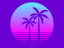 80s Retro Sci-fi Palm Trees On A Sunset. Retro Futuristic Sun With Palm Trees. Summer Time. Synthwave And Retrowave Style. Vector Illustration
