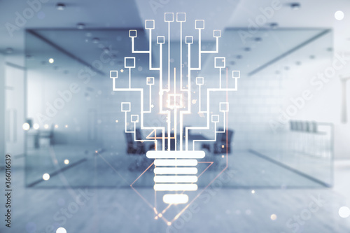 Photo Virtual creative light bulb illustration with microcircuit on a modern furnished classroom background, future technology concept