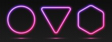 Neon Gradient Frames Set, Collection Of Purple-pink Glowing Borders Isolated On A Dark Background. Colorful Night Banners, Vector Light Effect. Circle, Triangle, And Hexagon, Bright Illuminated Shapes