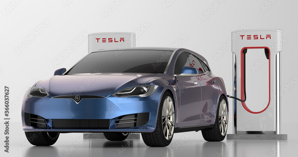 Tesla Model S Shooting Brake while charging on a white background