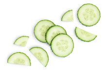 Sliced Cucumber Isolated On Wh...