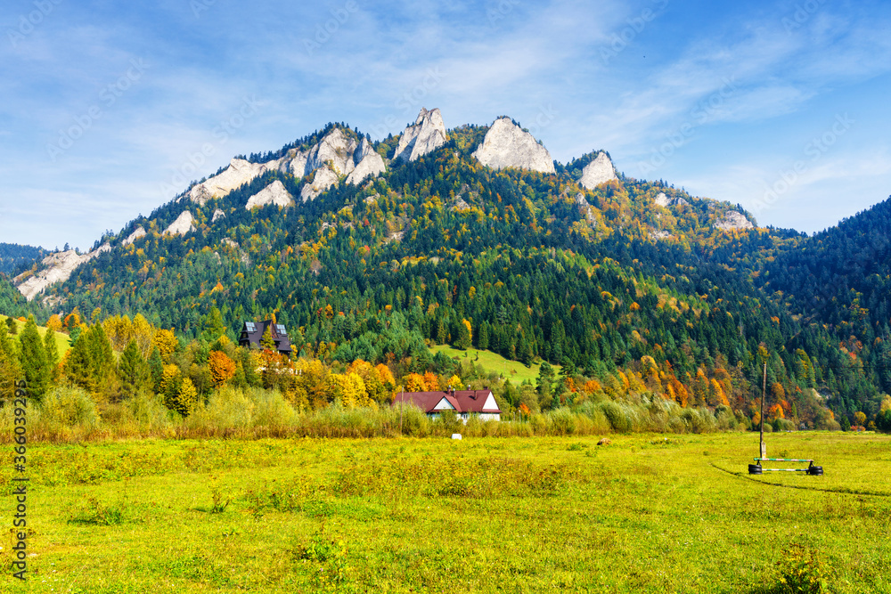 View of Trzy Korony (Three Crowns) peak in Pieniny National Park, Poland on a warm summer day.
