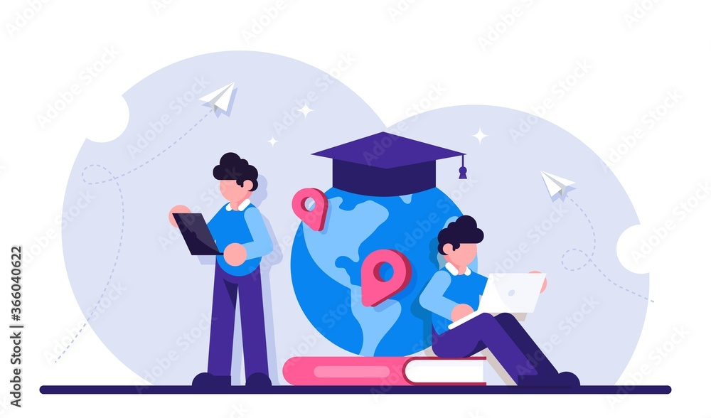 Fototapeta Concept of global education. Boy standing in front of books and globe with cap. Study abroad, international student exchange program. Modern flat illustration.