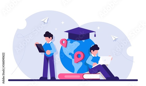 Fototapeta Concept of global education. Boy standing in front of books and globe with cap. Study abroad, international student exchange program. Modern flat illustration. obraz