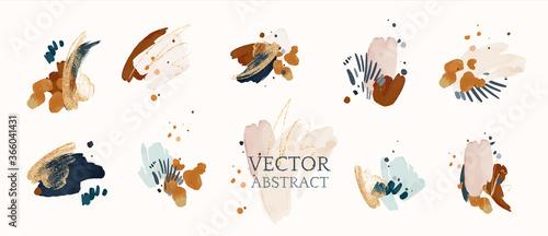 Canvas Print Set abstract shapes, splash gold
