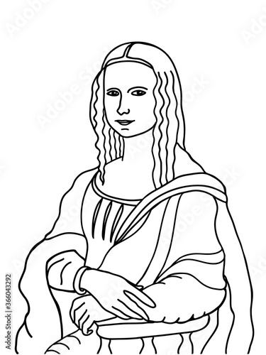 Obraz na plátně Famous Mona Lisa painting hand drawn in outline style