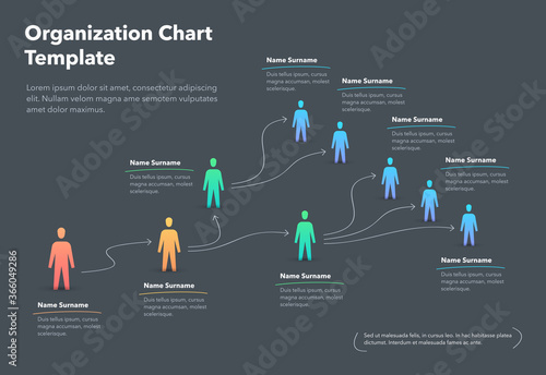 Obraz Company organization chart template with place for your content - dark version. Easy to use for your website or presentation. - fototapety do salonu