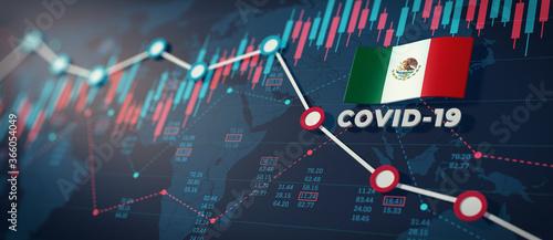 COVID-19 Coronavirus Mexico Economic Impact Concept Image. Billede på lærred