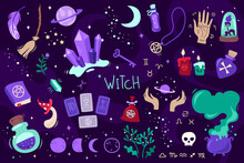 Colorful Magic Set Of Witch At...