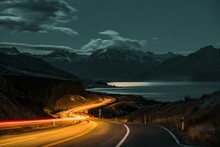 Long Exposure Over A Highway On The Background Of Mount Cook In New Zealand