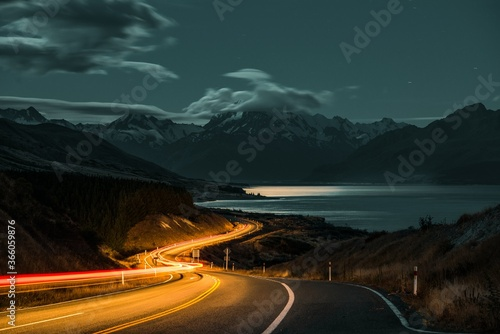 Tela Long exposure over a highway on the background of Mount Cook in New Zealand