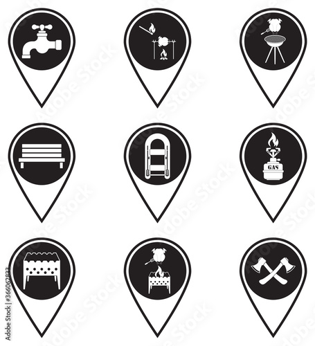 Fotomural Set of map pointers with travel and camping equipment icons