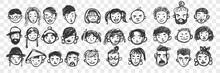 Hand Drawn Human Faces Doodle Set