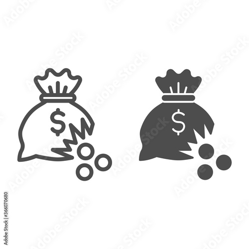 Vászonkép Bag of money with hole and coins line and solid icon, financial problem concept, leaking coins from torn money bag sign on white background, Hole in moneybag icon in outline style