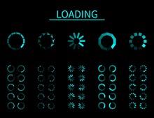 Round Loader. Progressive Internet Buffering Upload Loading, Frame Animation, Interface For App And Internet, Computer And Mobile, Blue Signs Of Wait Download On Black Background Vector Set