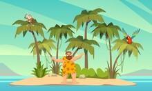 Robinson Crusoe. Man On Desert...
