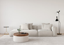 Living Room In Beige Tones With A Sofa, A Floor Lamp, A Wooden Table And A Gold Side Table