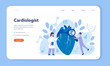 Cardiology web banner or landing page. Doctor deal with