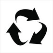 black recycle vector, white color background.