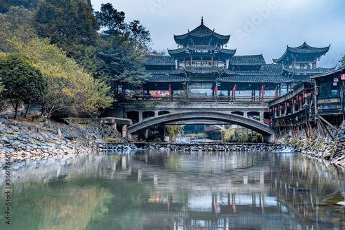 Early morning wind and rain bridge in Qianhu Miao Village, Xijiang, Guizhou, China