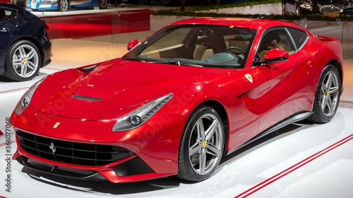 Valokuvatapetti AMSTERDAM - APR 16, 2015:  Ferrari F12 Berlinetta sports car  showcased at the AutoRAI Motor Show