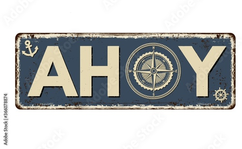 Illustration of a blue rusty board with ahoy inscription and marine-themed detai Wallpaper Mural