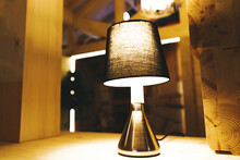 Table Lamp In A Wooden House. ...