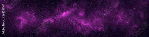 Valokuva Nebula and stars in night sky web banner. Space background.