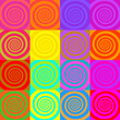 Set of psychedelic spirals in comic style. Seamless pattern from colorfull spirals on bright square background