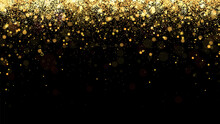 Festive Vector Background With Gold Glitter And Confetti For Christmas Celebration. Black Background With Glowing Golden Particles.