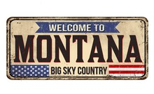 Illustration Of A Sign With A Text ''Welcome To Montana, Big Sky Country'' On A White Background